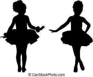 pequeño, bailarinas, silueta