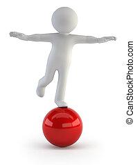pequeño, balance, -, 3d, gente