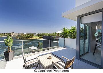 pequeño, balcón