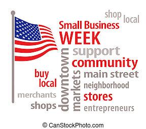 pequeño, bandera, empresa / negocio, semana, estados unidos...