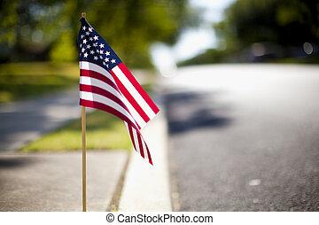 pequeño, bandera, nosotros
