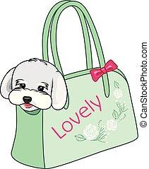 pequeño, bolsa, proceso de llevar, perros, moderno