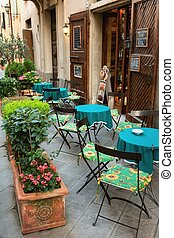 pequeño, café, en, toscana, italia