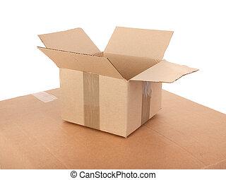 pequeño, caja, cartón, abierto