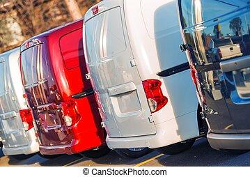 pequeño, carga, camiones, flota