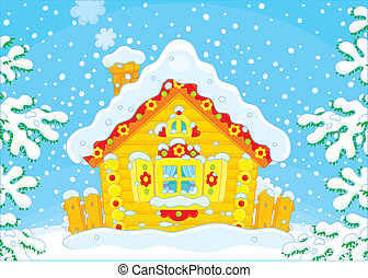 pequeño, choza, registro, nieve