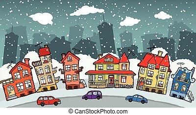 pequeño, ciudad, caricatura