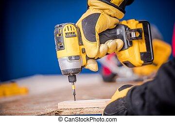 pequeño, construcción, trabaja