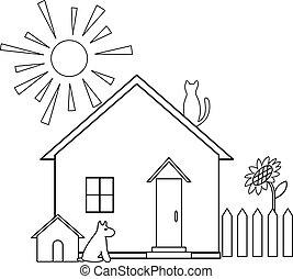pequeño, contornos, casa