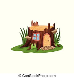 pequeño, cuento de hadas, casa, en, forma, de, viejo, tocón, rodeado, por, alto, verde, grass., hogar, con, de madera, arqueado, puerta, y, cuadrado, ventana., caricatura, plano, vector, diseño