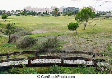 pequeño, de madera, puentes, en, campo de golf