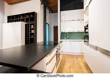 pequeño, dentro, apartamento, cocina, área