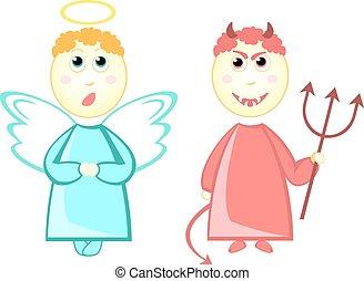 pequeño diablo, caricatura, ángel