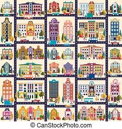 pequeño, edificios, pueblo