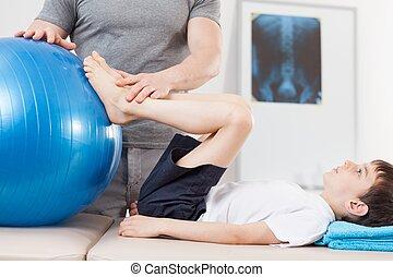 pequeño, ejercicios, paciente