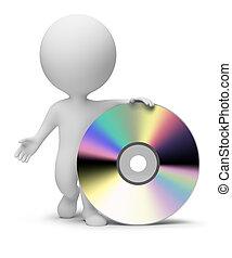 pequeño, gente, -, 3d, cd