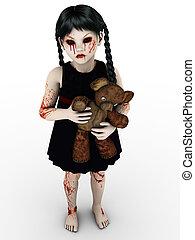 pequeño, girl., gótico, sangre, cubierto