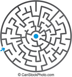 pequeño, gris, vector, maze., ilustración