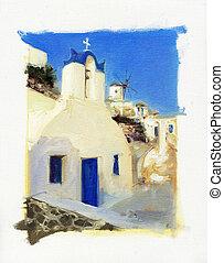 pequeño, iglesias, en, santorini, 2