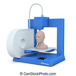 pequeño, impresora, 3d