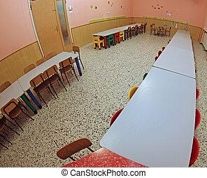 pequeño, jardín de la infancia, sillas, refectorio, vacío, ...