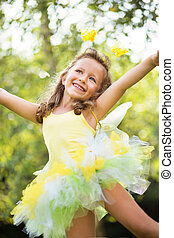 pequeño, lindo, niña, el bailar del ballet clásico
