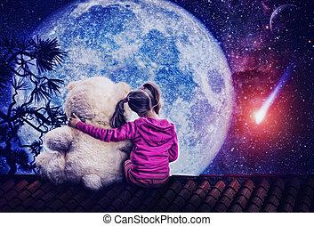 pequeño, lindo, niña, sentado, con, juguete, oso