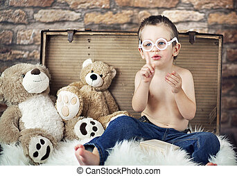 pequeño, lindo, teddybears, niño