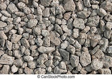 pequeño, muchos, grayish, piedras