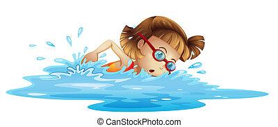 pequeño, niña, natación