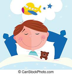 pequeño, niño, sobre, avión, soñar