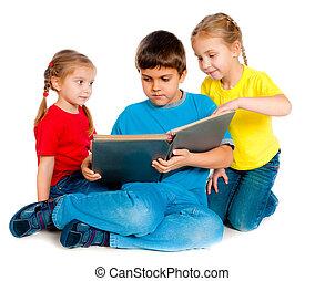 pequeño, niños, libro