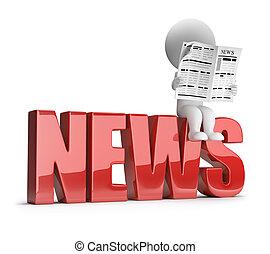 pequeño, noticias, 3d, -, gente