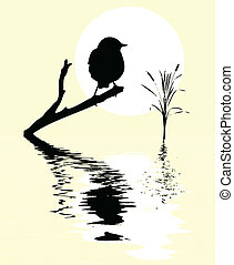 pequeño, pájaro, en, rama, árbol, entre, agua