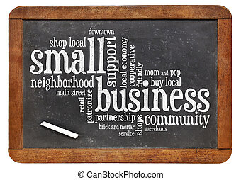 pequeño, palabra, empresa / negocio, nube
