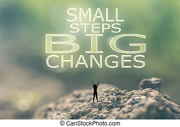 pequeño, pasos, grande, cambios