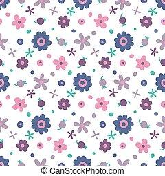 pequeño, patrón, berries., flores, seamless