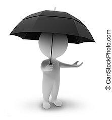 pequeño, people-umbrella, 3d