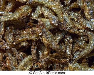 pequeño, pez, frito,  smelts
