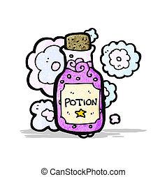 pequeño, poción, botella, caricatura