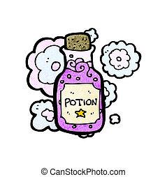 pequeño, poción, caricatura, botella