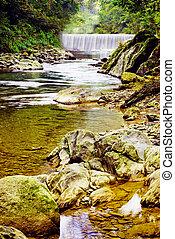 pequeño, río, con, cascada, y, rocks.