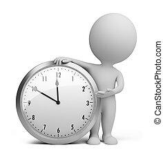 pequeño, reloj, -, 3d, gente
