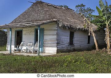 pequeño, residencial, hogar, en, cuba, con, mecedoras