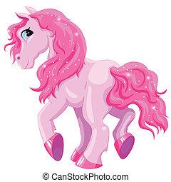 pequeño, rosa, poney