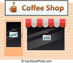 pequeño, tienda, café, vector, icono