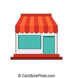 pequeño, tienda, icono