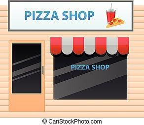 pequeño, tienda, vector, pizza, icono