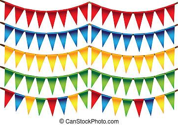 pequeño, triángulo, colores, banderas