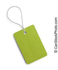 pequeño, verde, etiqueta